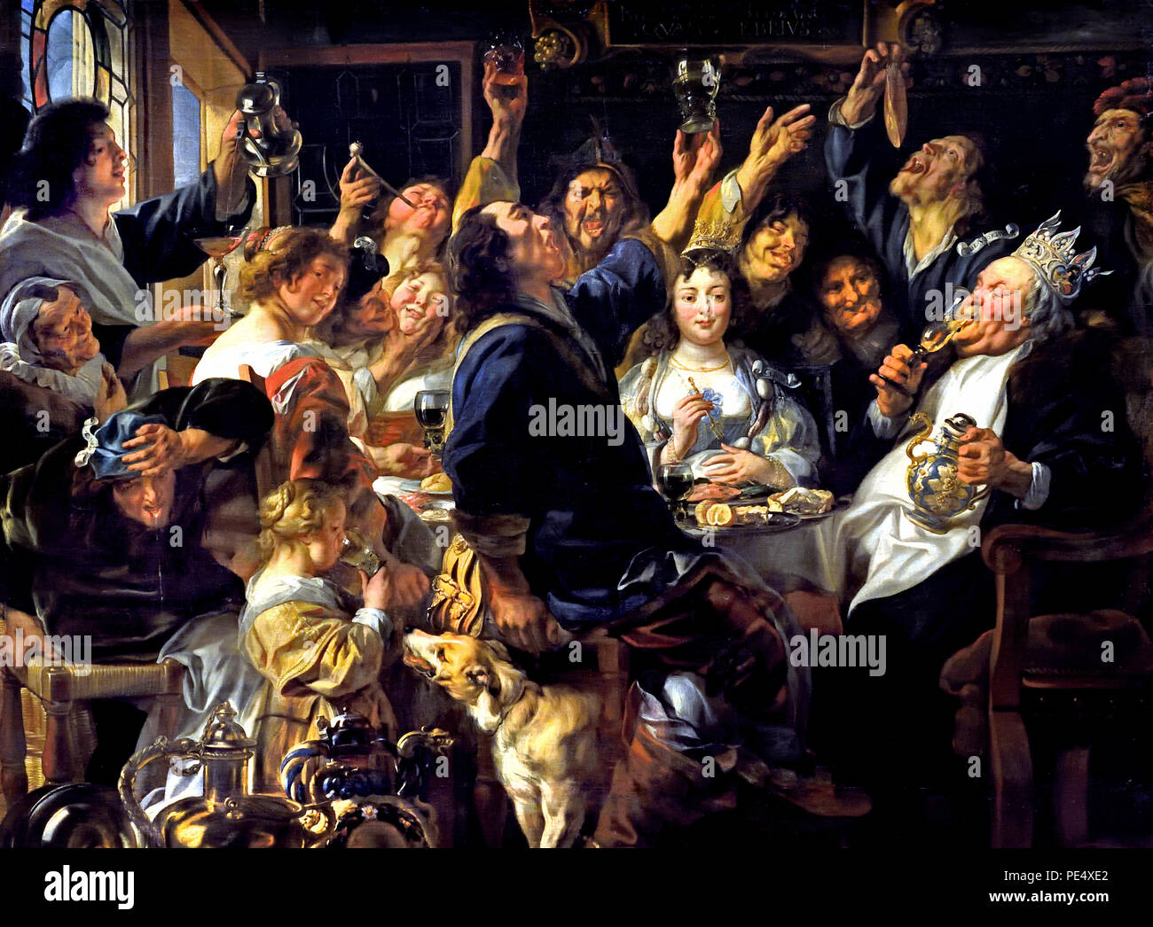 Feast of the bean king 1640/1645 by Jacob Jordaens ( 1593 – 1678) Flemish Baroque painter Belgian Belgium ( Flemish folk custom on Epiphany: The finder of the bean baked in a cake becomes king of the feast, he chooses the most beautiful woman as the queen.) - Stock Image