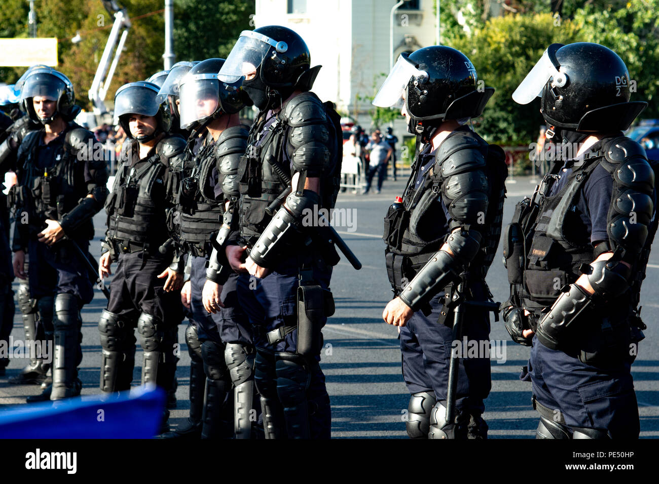 Bucharest, Romania - 10 August 2018: Riot police prepared to supress the manifestation during the protest of Diaspora when tens of thousands of protes - Stock Image