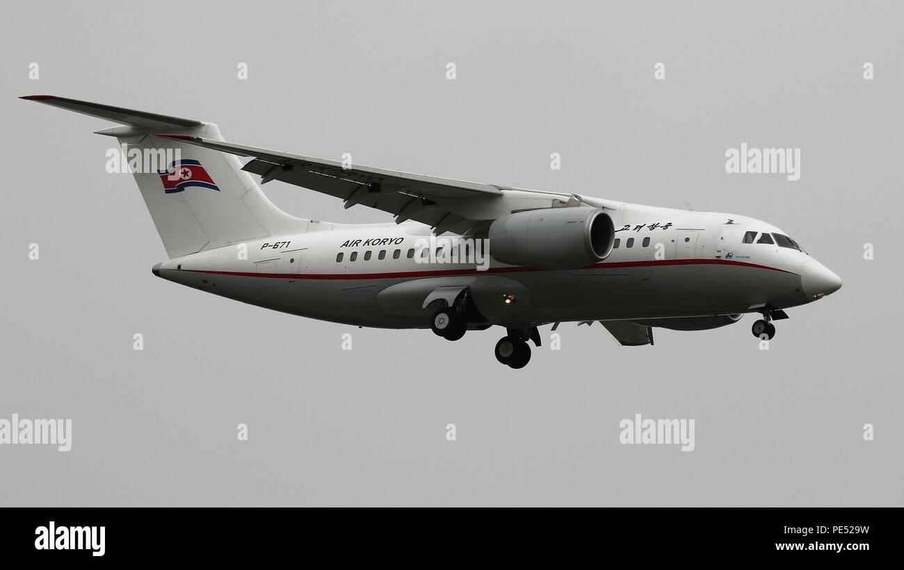 Air Koryo Antonov AN-148 registration P-671 at Beijing, ZBAA PEK on the 27th July 2018 - Stock Image