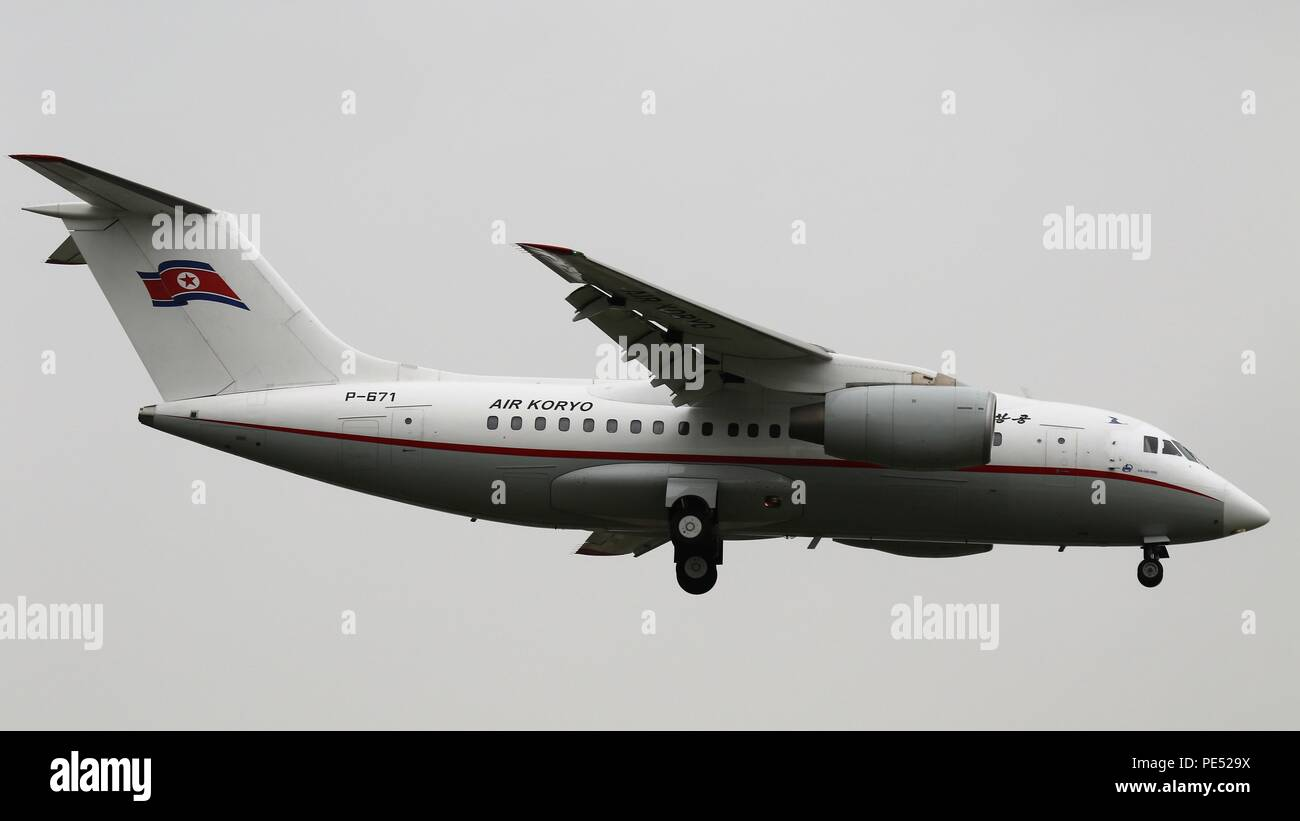 Air Koryo Antonov AN-148 registration P-671 at Beijing, ZBAA PEK on the 27th July 2018 Stock Photo