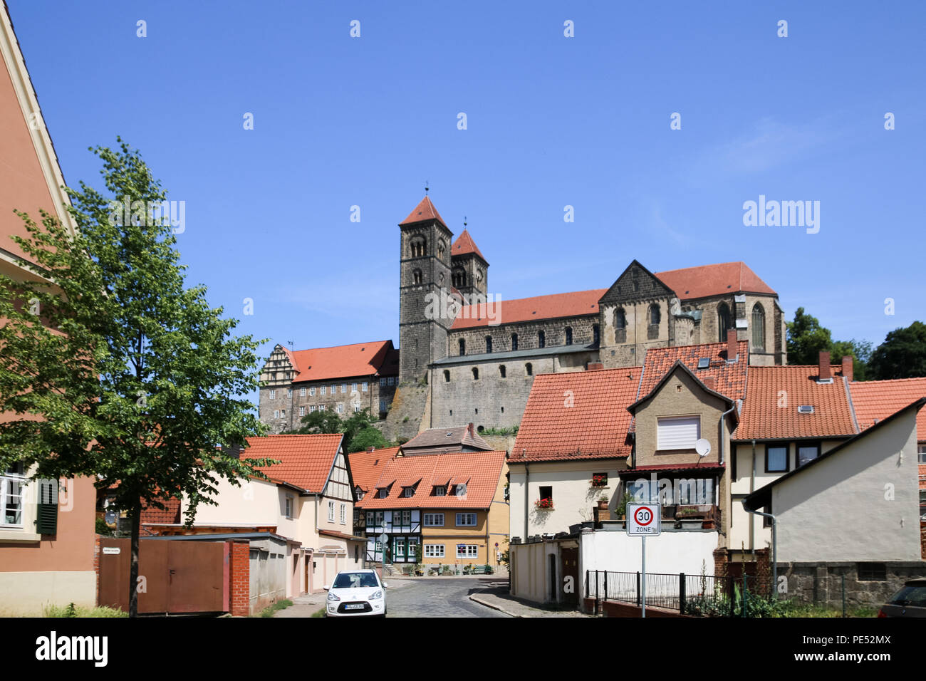 Magdeburg, Germany - June 6, 2018: View of the collegiate church St. Servatius in the world heritage city Quedlinburg, Germany. - Stock Image