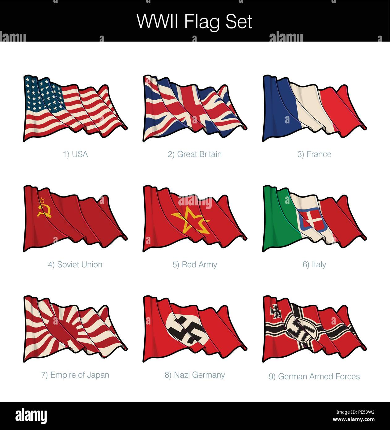 World War Two Waving Flag Set  The set includes flags from