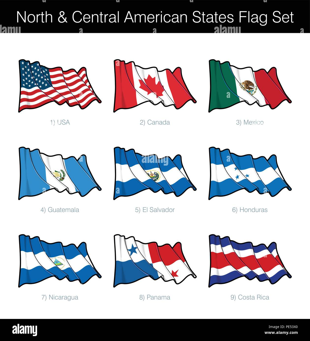 North and Central American States Waving Flag Set  The set