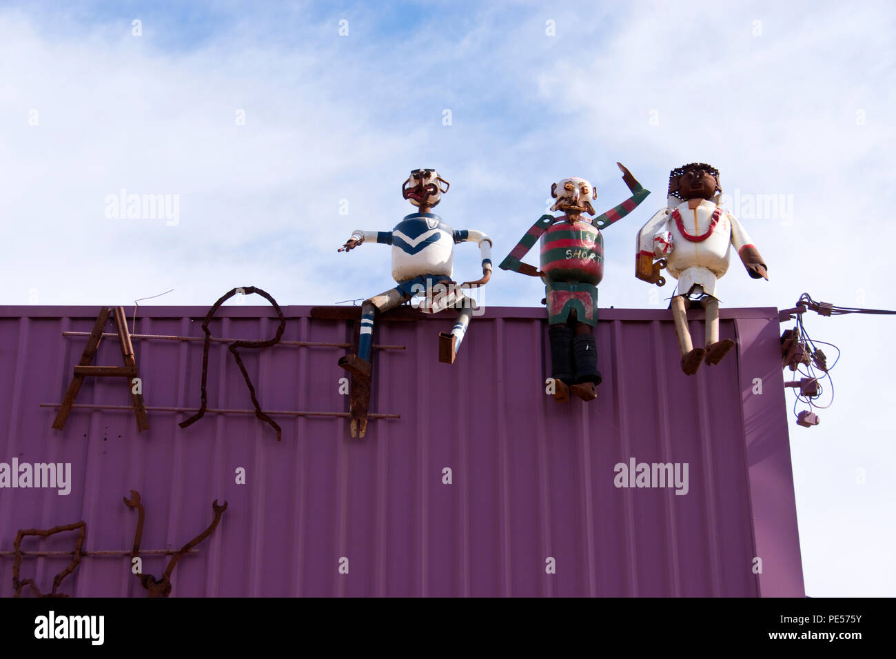 Sculptures made from recycled scrap metal on top of Wally's junk art gallery, in Rankins Springs, a town in New South Wales, Australia. - Stock Image