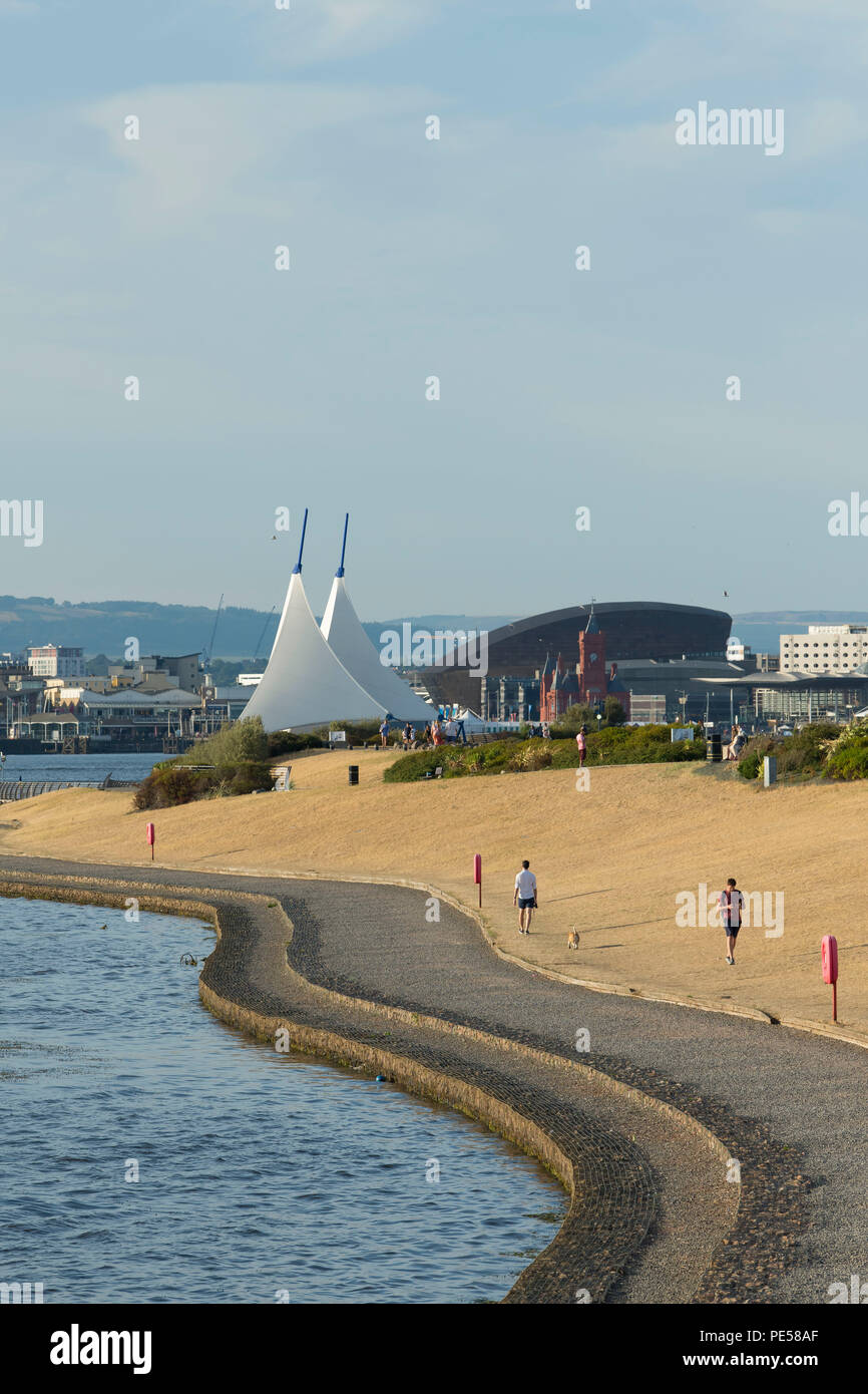A general view of Cardiff Bay barrage following weeks of hot weather and no rain in Cardiff, Wales, UK. - Stock Image