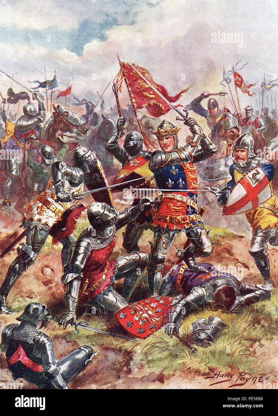 BATTLE OF AGINCOURT 25 October 1415. Illustration by English artist Harry Payne about 1912 showing Henry V leading his soldiers - Stock Image