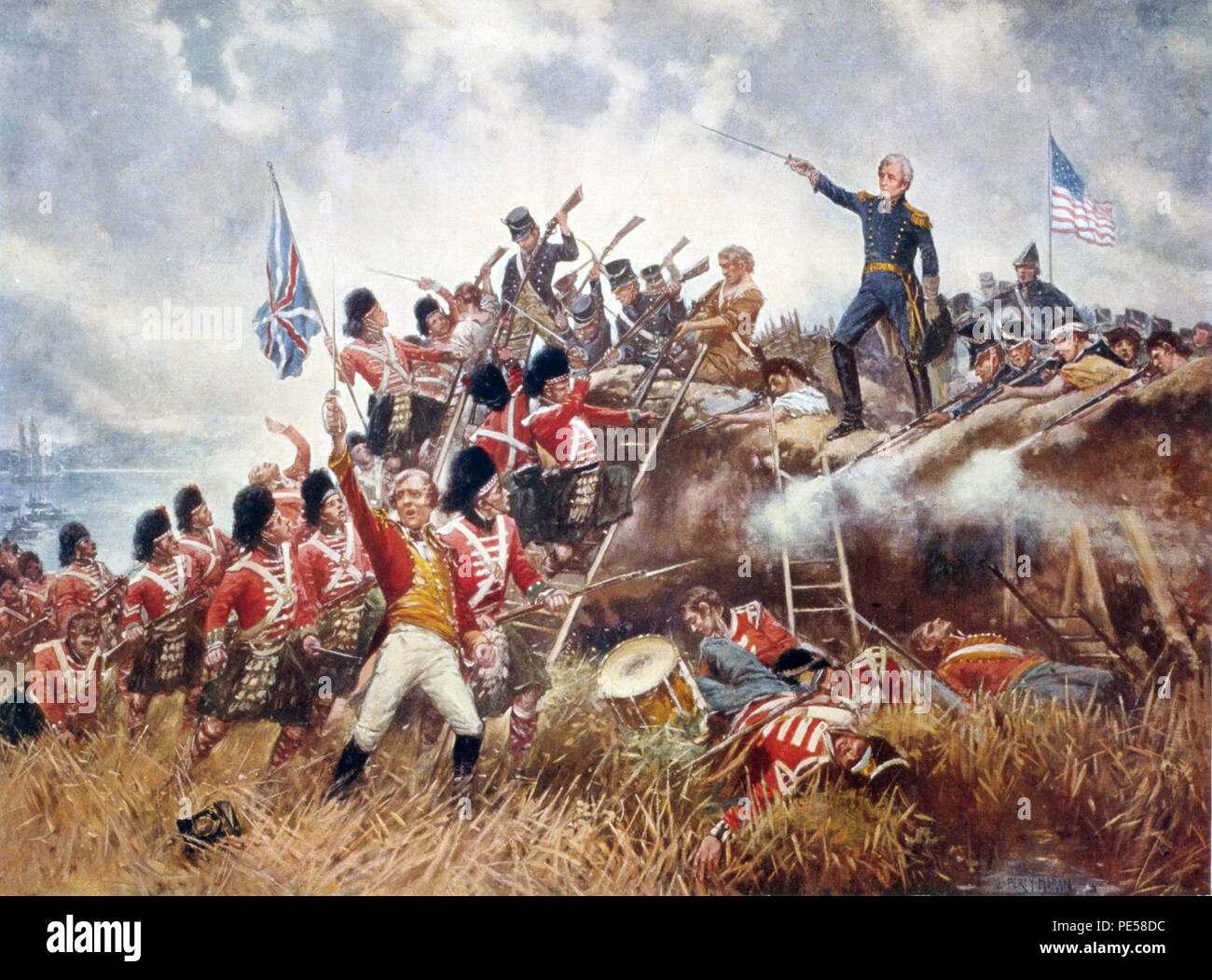 THE BATTLE OF NEW ORLEANS 8 January 1815 by Edward Moran (1910) with Andrew Jackson at right and Edward Pakenham at left - Stock Image