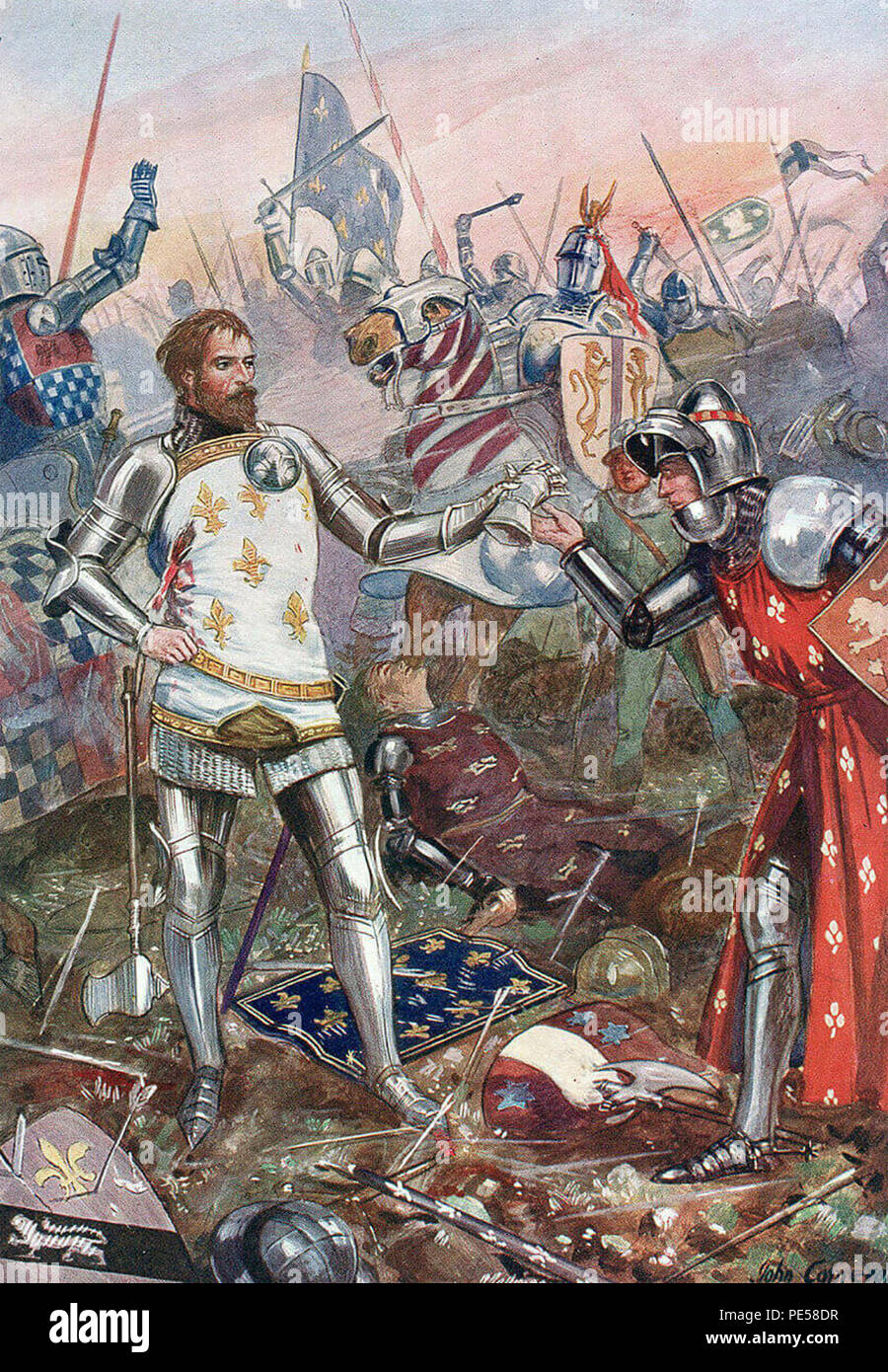 BATTLE OF POITIERS 19 September 1356 by English military artist Harry Payne about 1910. Edward, the Black Prince, is shown accepting the surrender of King John II of France - Stock Image