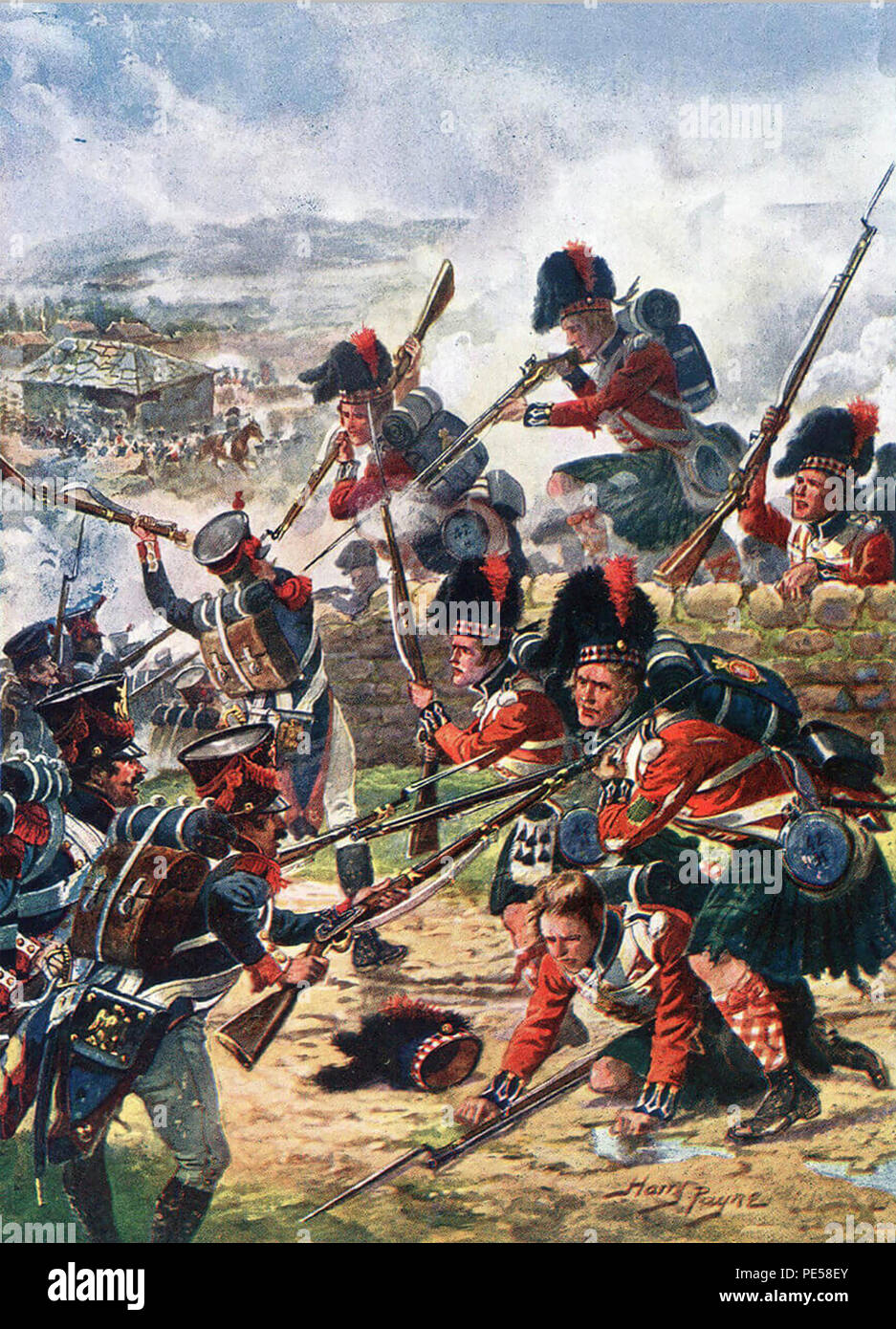 BATTLE OF CORUNNA 16 January 1809. The 42nd Highlanders the Black Watch fighting a rearguard action. By English war artist Harry Payne about 1912 - Stock Image
