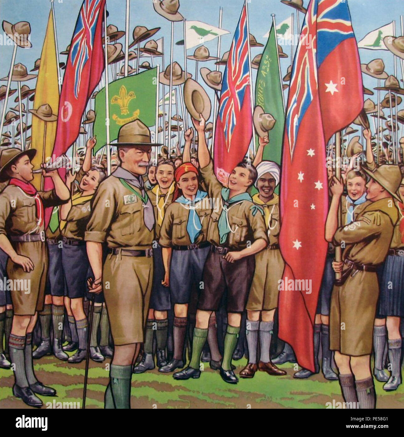 SCOUT JAMBOREE illustration about 1920 showing Baden-Powell - Stock Image