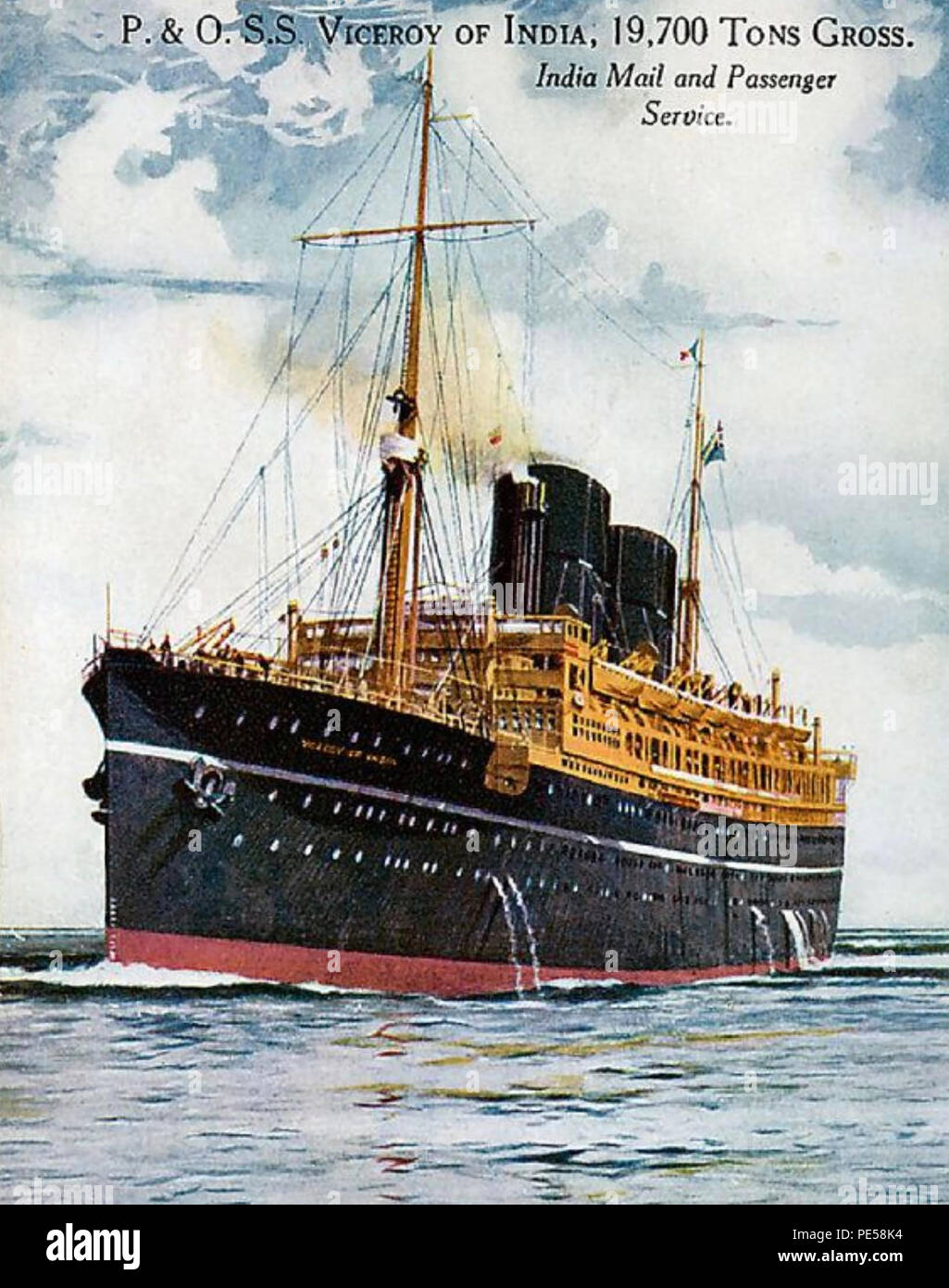 RMS VICEROY OF INDIA ocean liner of the P&O Line used on the Tilbury-Bombay route in the 20s and 30s - Stock Image