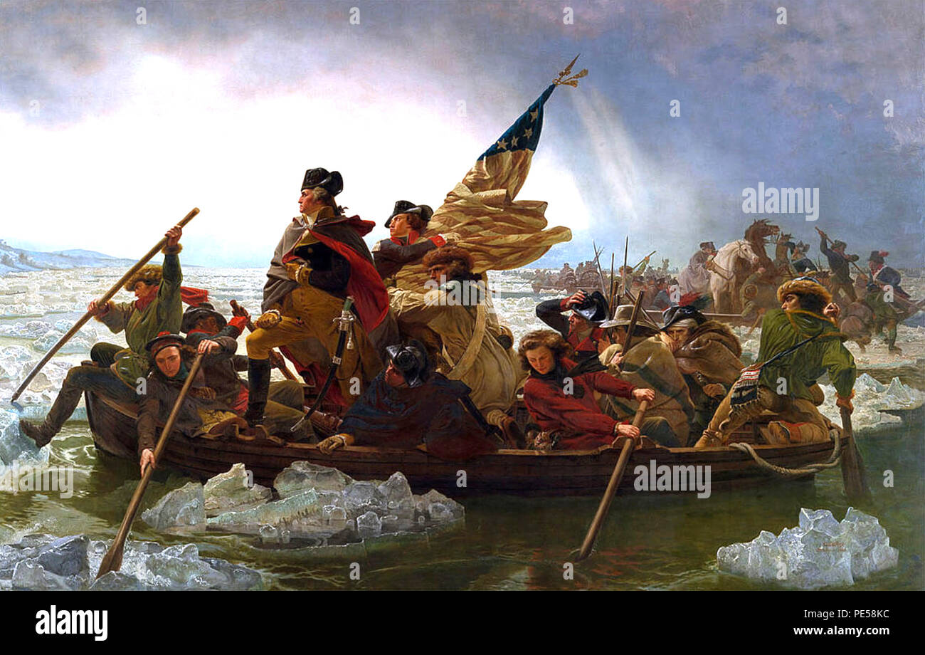 WASHINGTON CROSSING THE DELAWARE 25 Decemnber 1776 painted in 1851 by Emanuel Leitz - Stock Image