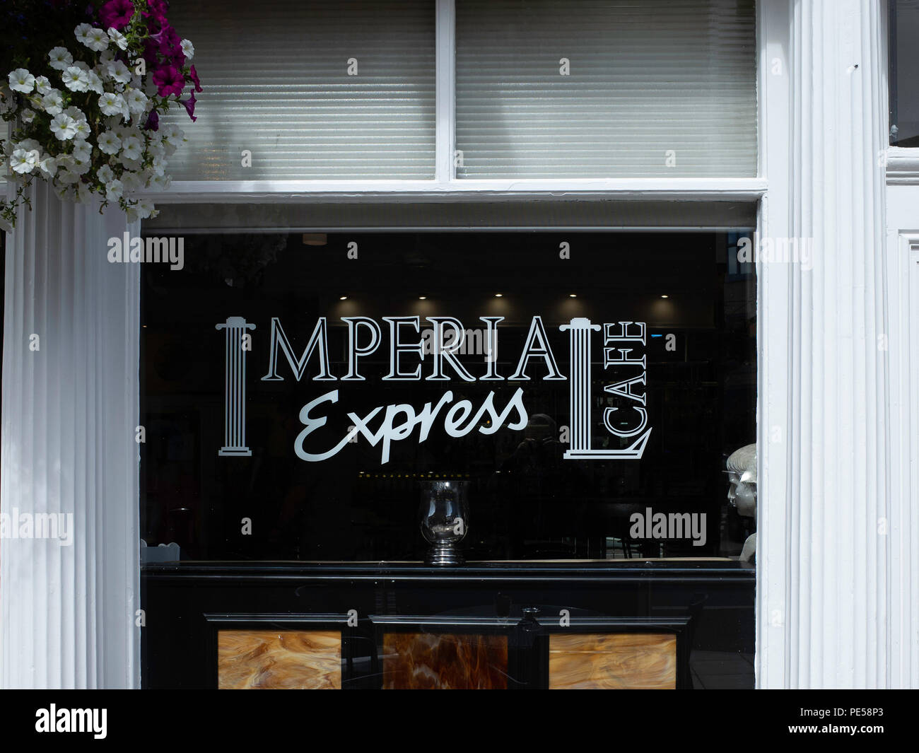 Imperial Express Café Restaurant in Northumberland Street Darlington Co Durham UK sign on the window Stock Photo
