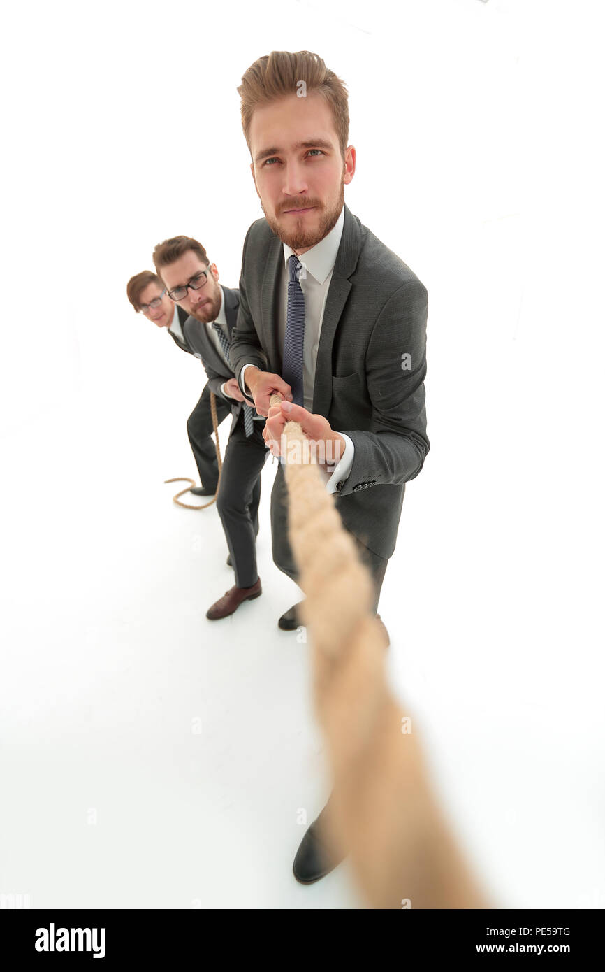 background image of a businessman rising up. - Stock Image