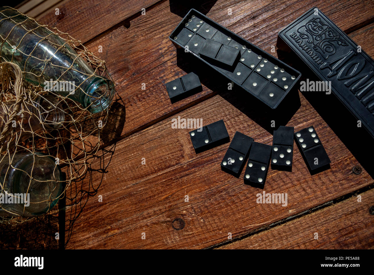 Soviet domino game chips and box - Stock Image