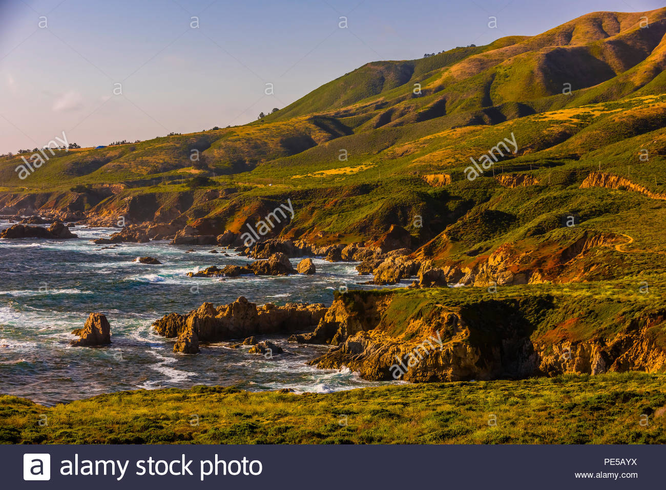 The rugged Big Sur coastline along Highway 1, between Carmel Highlands and Big Sur, Monterey County, California USA. - Stock Image