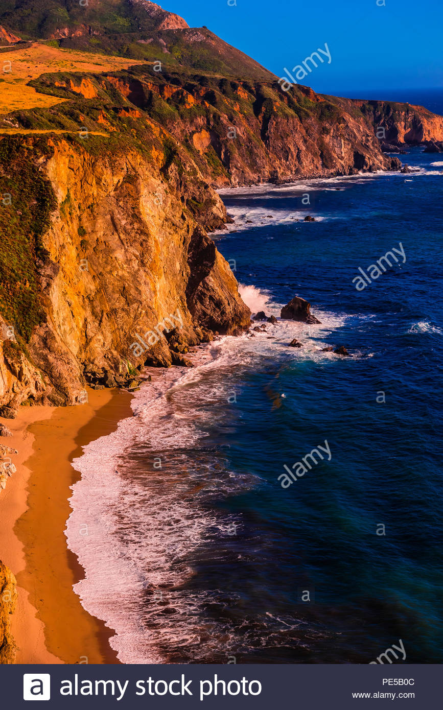 High angle view of the Big Sur coastline from the Castle Rock viewpoint, between Carmel Highlands and Big Sur, California USA. - Stock Image