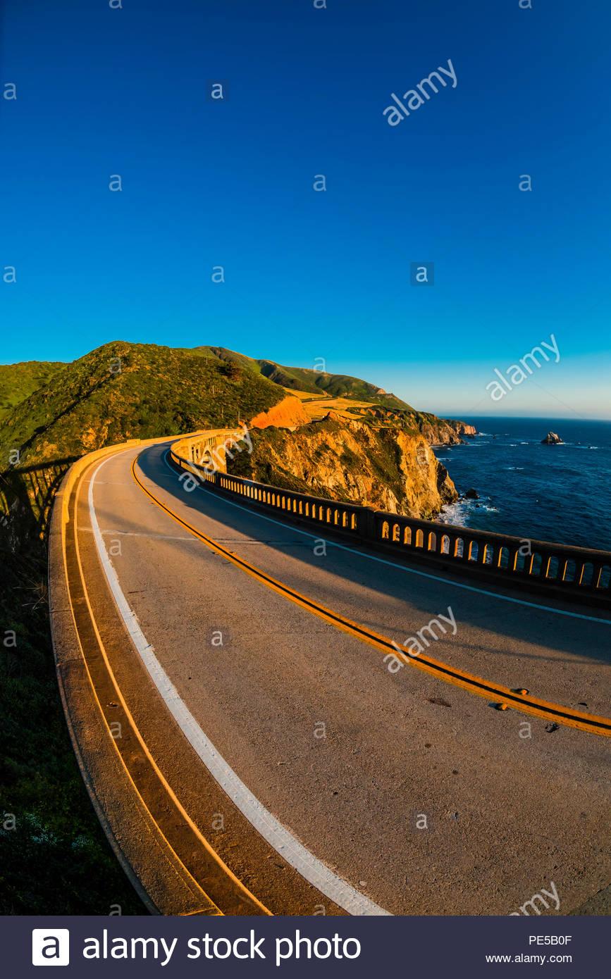 The Bixby Bridge along the Big Sur coast between Carmel Highlands and Big Sur, California USA. - Stock Image