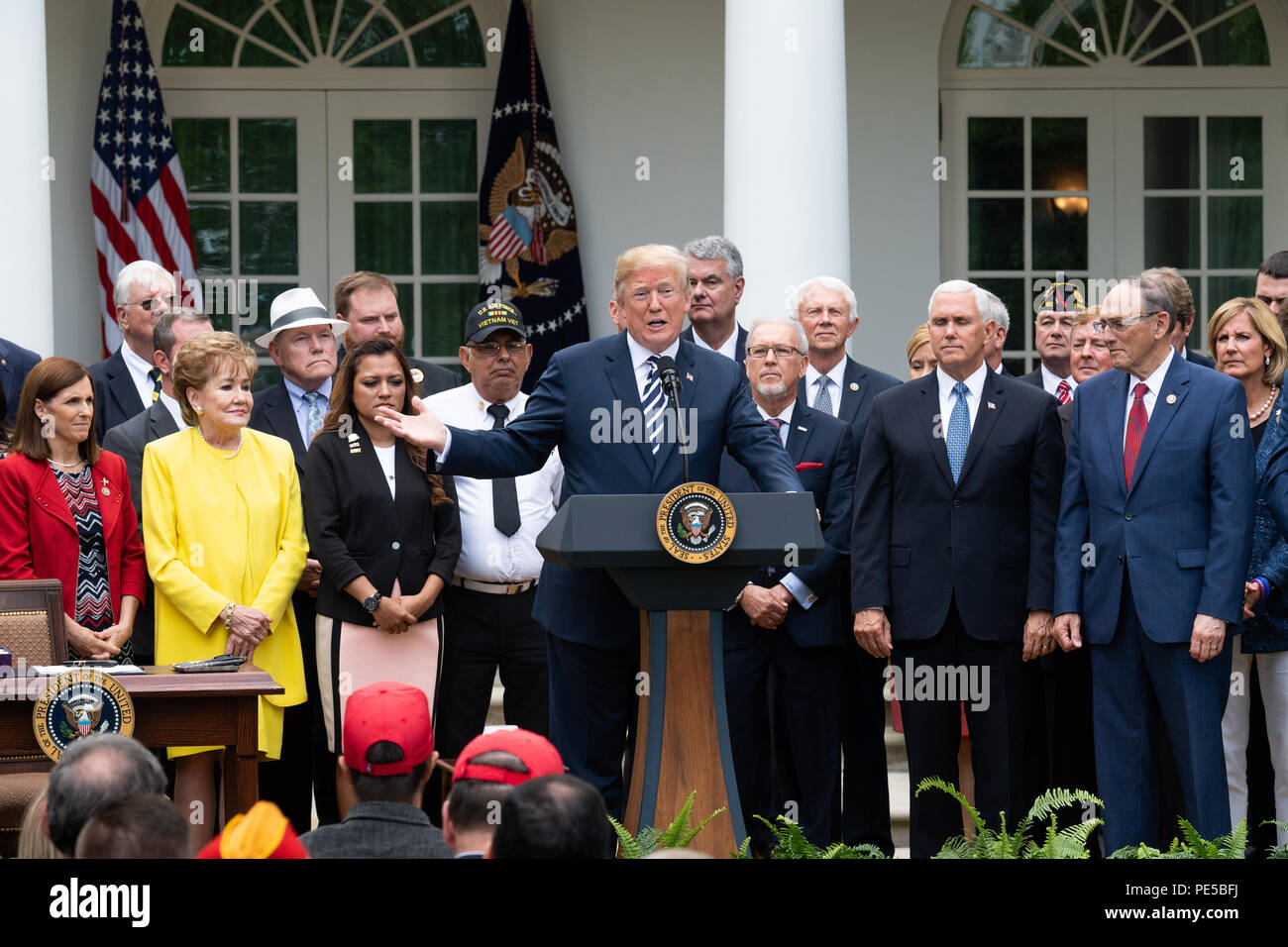 Donald Trump at the signing ceremony for S  2372, the VA Mission Act