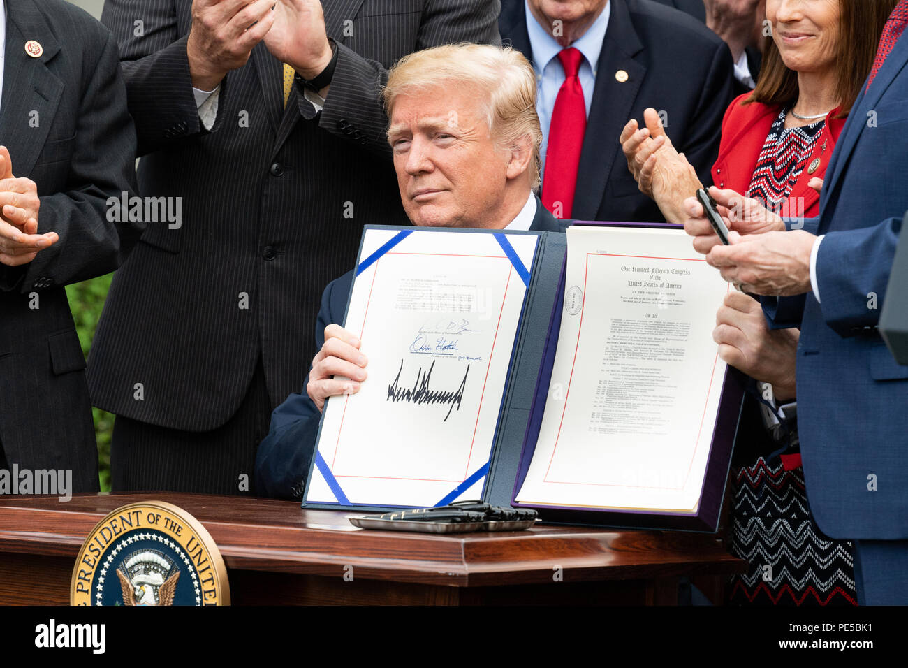 Donald Trump at the signing ceremony for S  2372, the VA