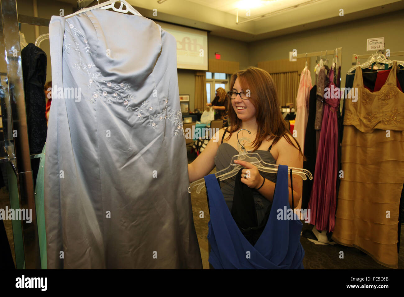 Rachel Jones selects a gown during Operation Ball Gown at Marine ...