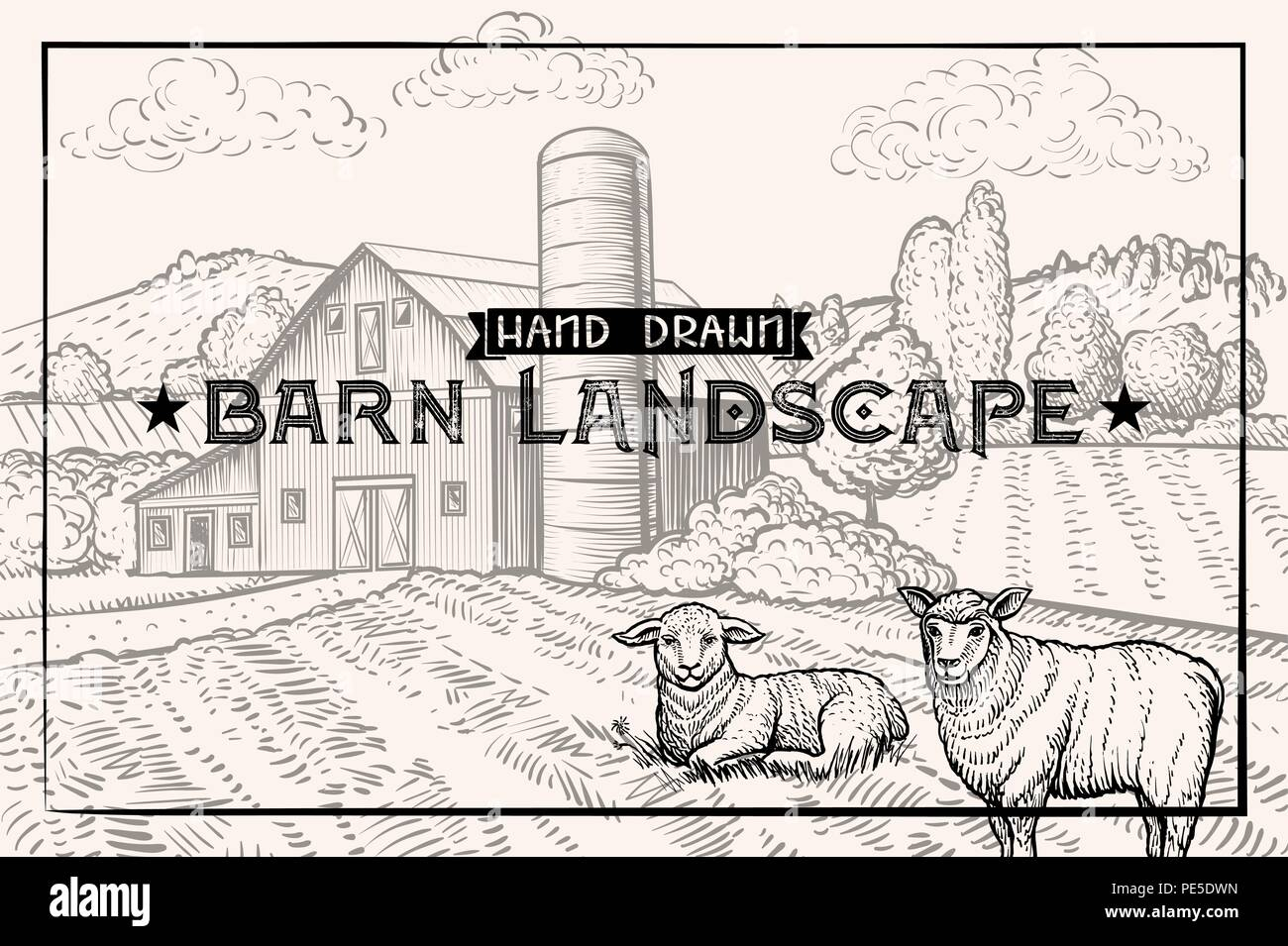Vintage barn landscape and Farm animals Lamb and Sheep. Textured Horizontal Poster Template. Retro styled Sketched Engraving vector illustration - Stock Vector