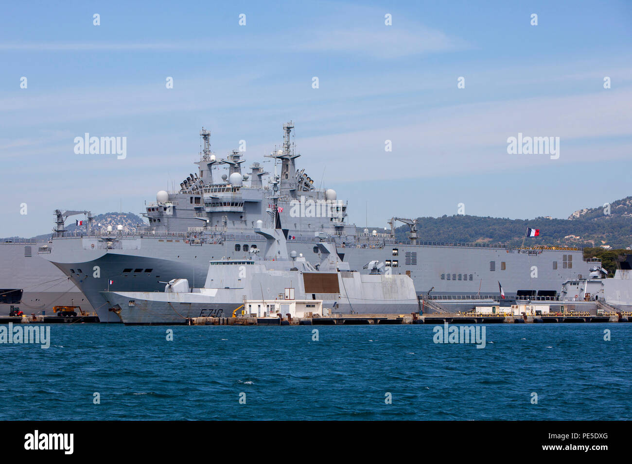 Dixmude L9015 an amphibious assault ship of the French Navy docked at the major French naval base in Toulon in southern France Stock Photo