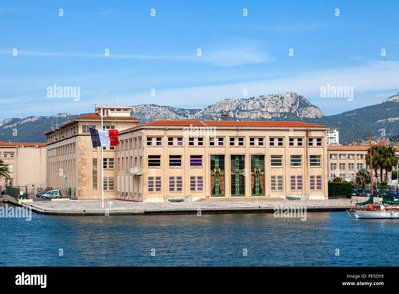 Maritime Prefecture of the Mediterranean building being the representative of the State at sea in Toulon along the harbour in the south-east of France Stock Photo