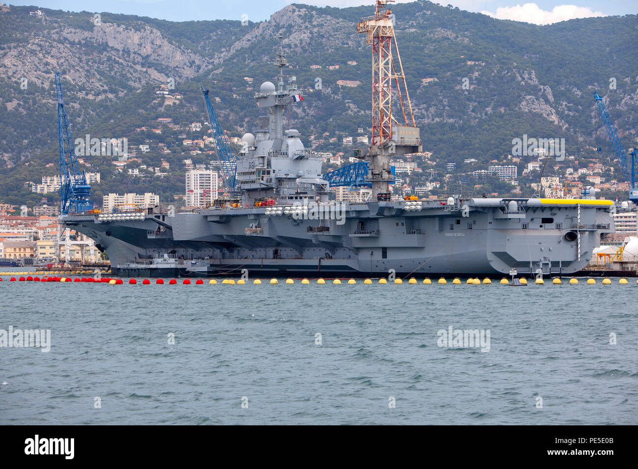 Charles de Gaulle aircraft carrier R91 Flagship of the French Navy docked at the major French naval base in Toulon in southern France - Stock Image