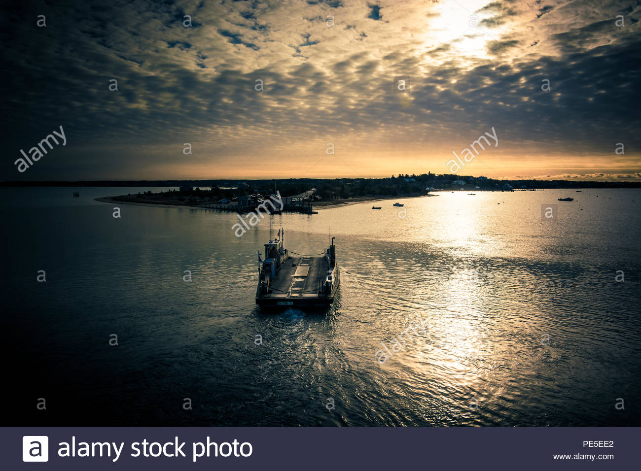 River Ferry at Martha's Vineyard. Sunset on the northern coasts. Stock Photo