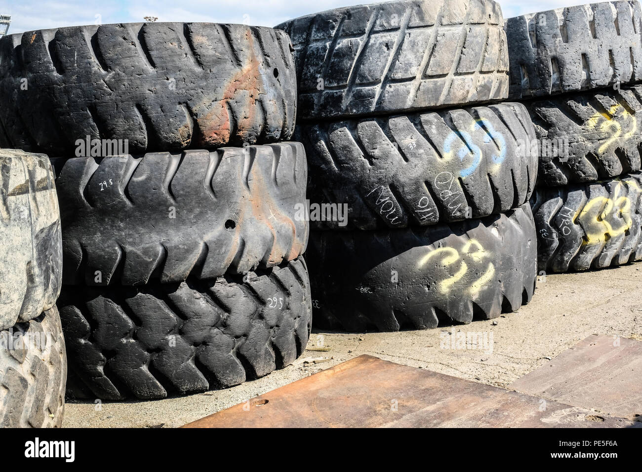 Giant wore out rubber tires - Stock Image