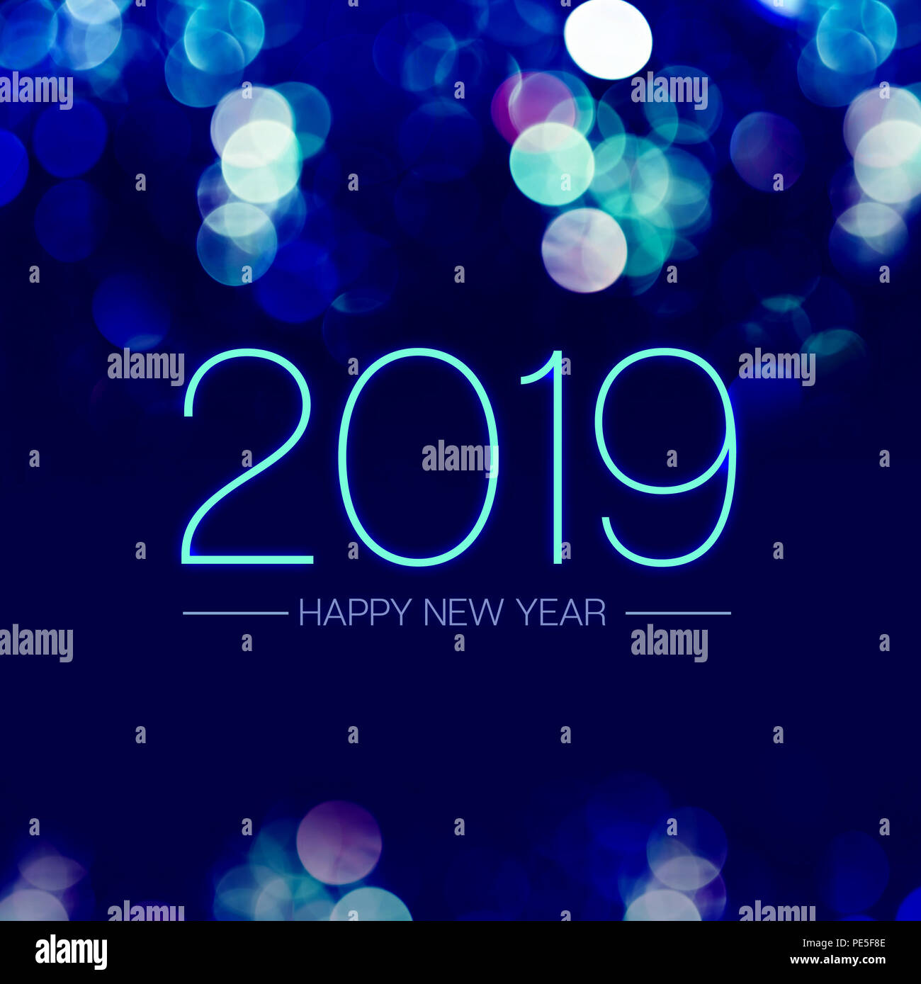 2019 happy new year on blue bokeh background