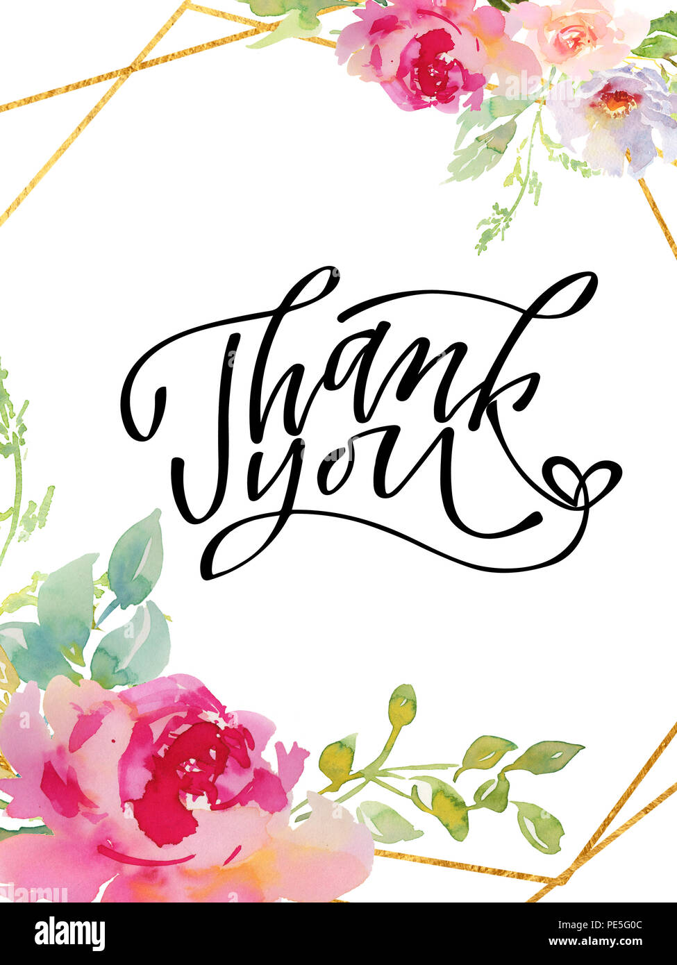 Thank you - hand lettering inscription to holiday design, black and white ink calligraphy,  illustration - Stock Image