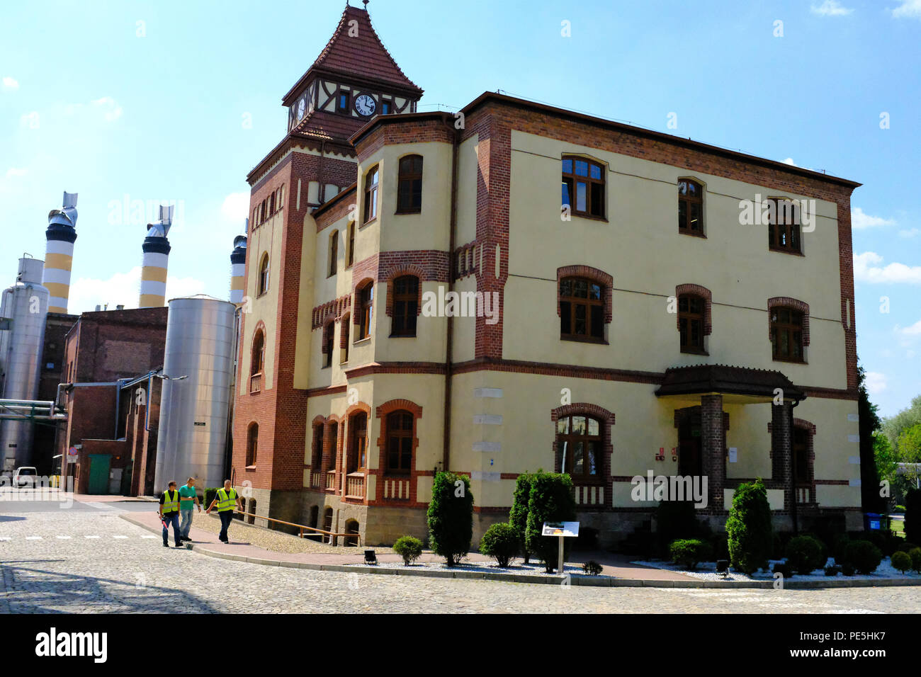 Bachelors workers quarters at the Tychy Brewery in Poland, Europe. - Stock Image