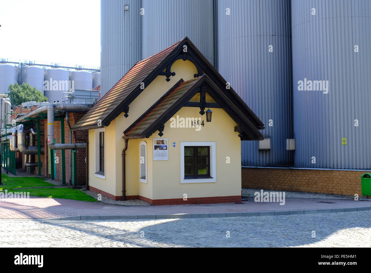 Small house at the Tychy Brewery in Poland, Europe. - Stock Image