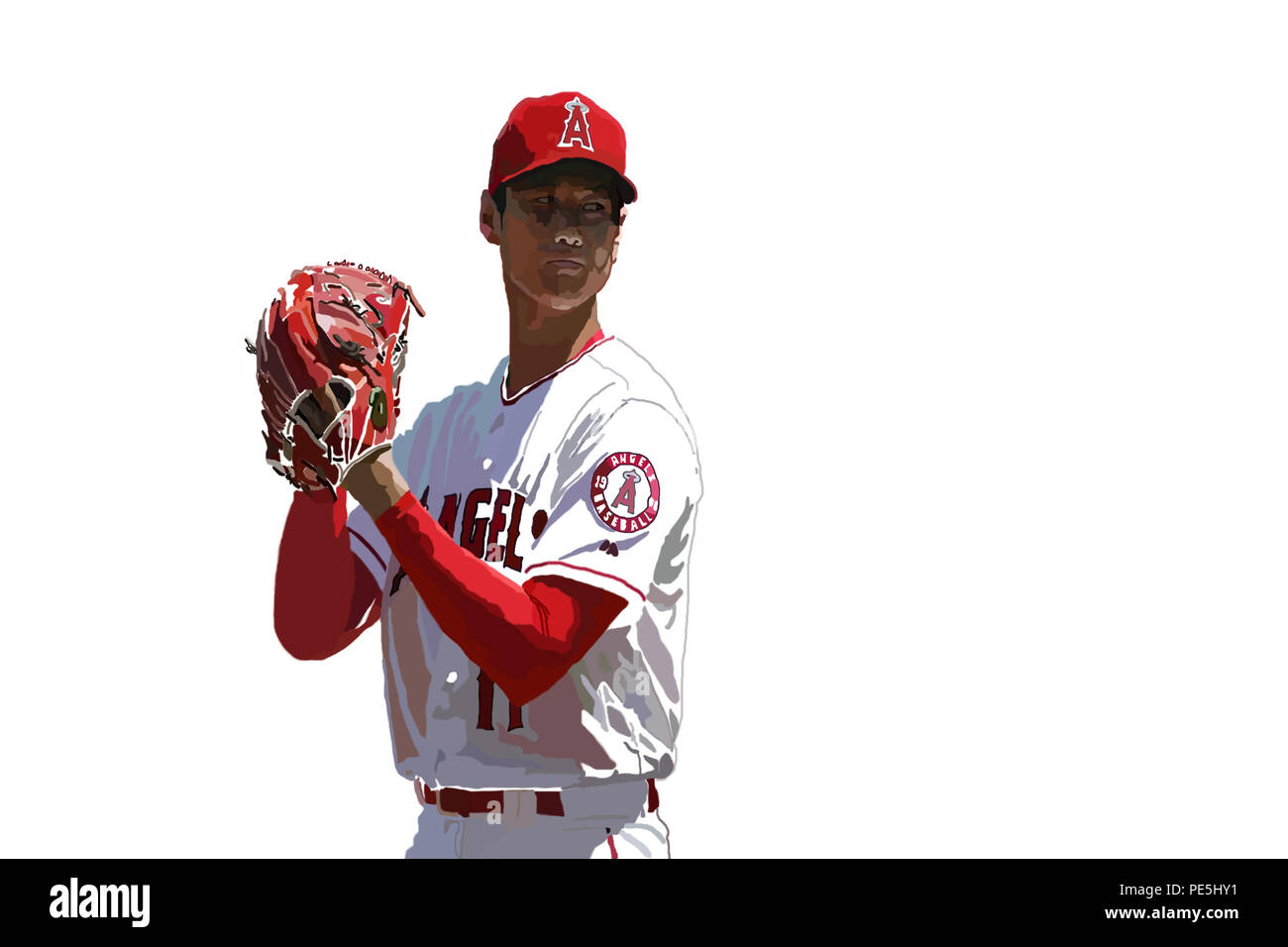 This is a painting that I made by hand on Photoshop of Shohei Ohtani of the Los Angeles Angels of Anaheim. - Stock Image