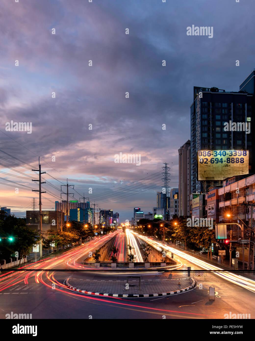 Bangkok Light Trails - Stock Image
