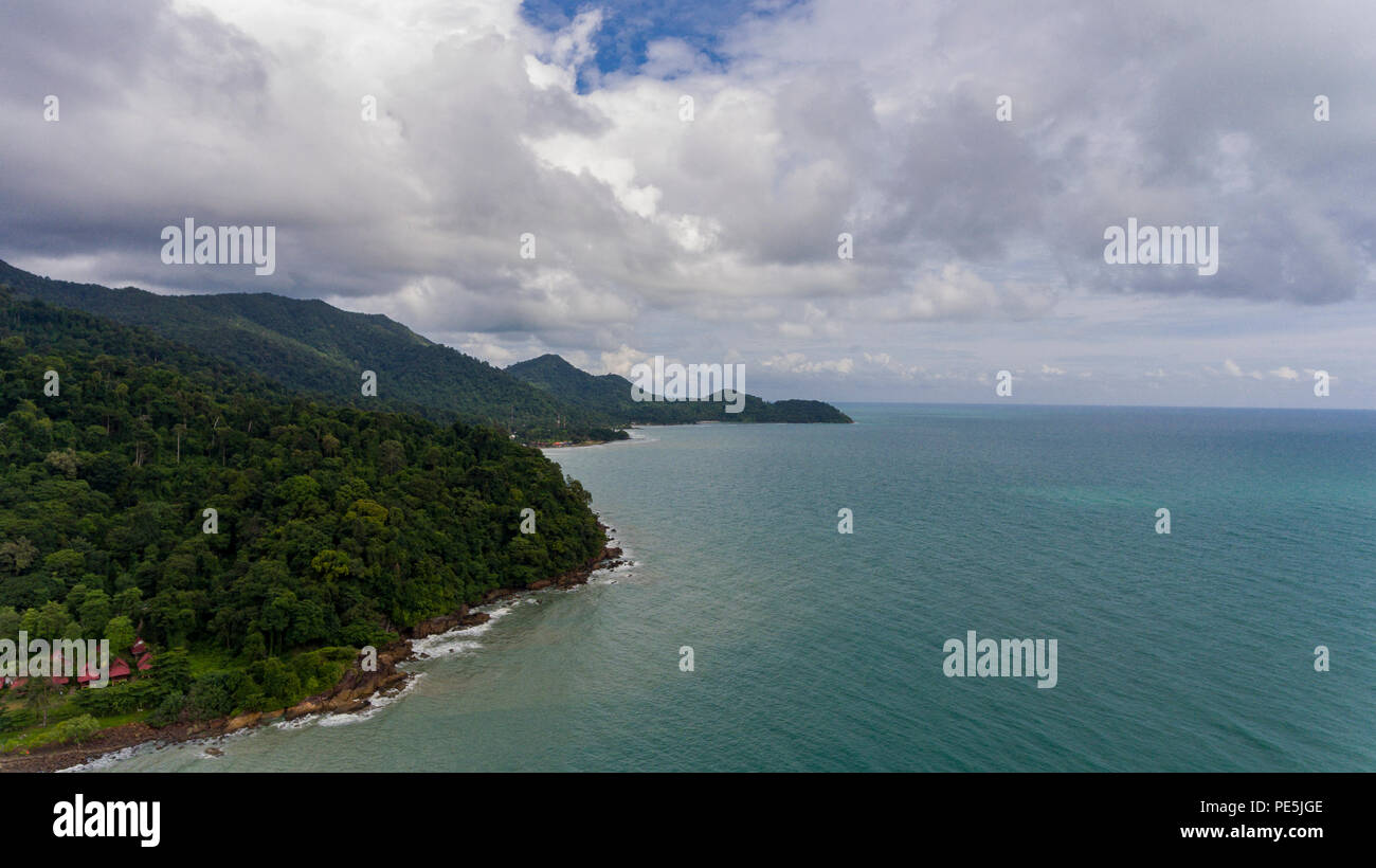 Aerial View of Koh Chang, Thailand with amazing green trees and blue water. Drone picture of tropical island, perfect for beach holiday. - Stock Image