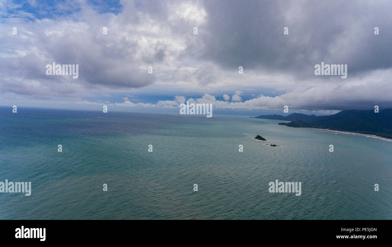 Aerial View of Koh Chang, Thailand with amazing cloudy skies and blue water. Drone picture of tropical island, perfect for beach holiday. - Stock Image