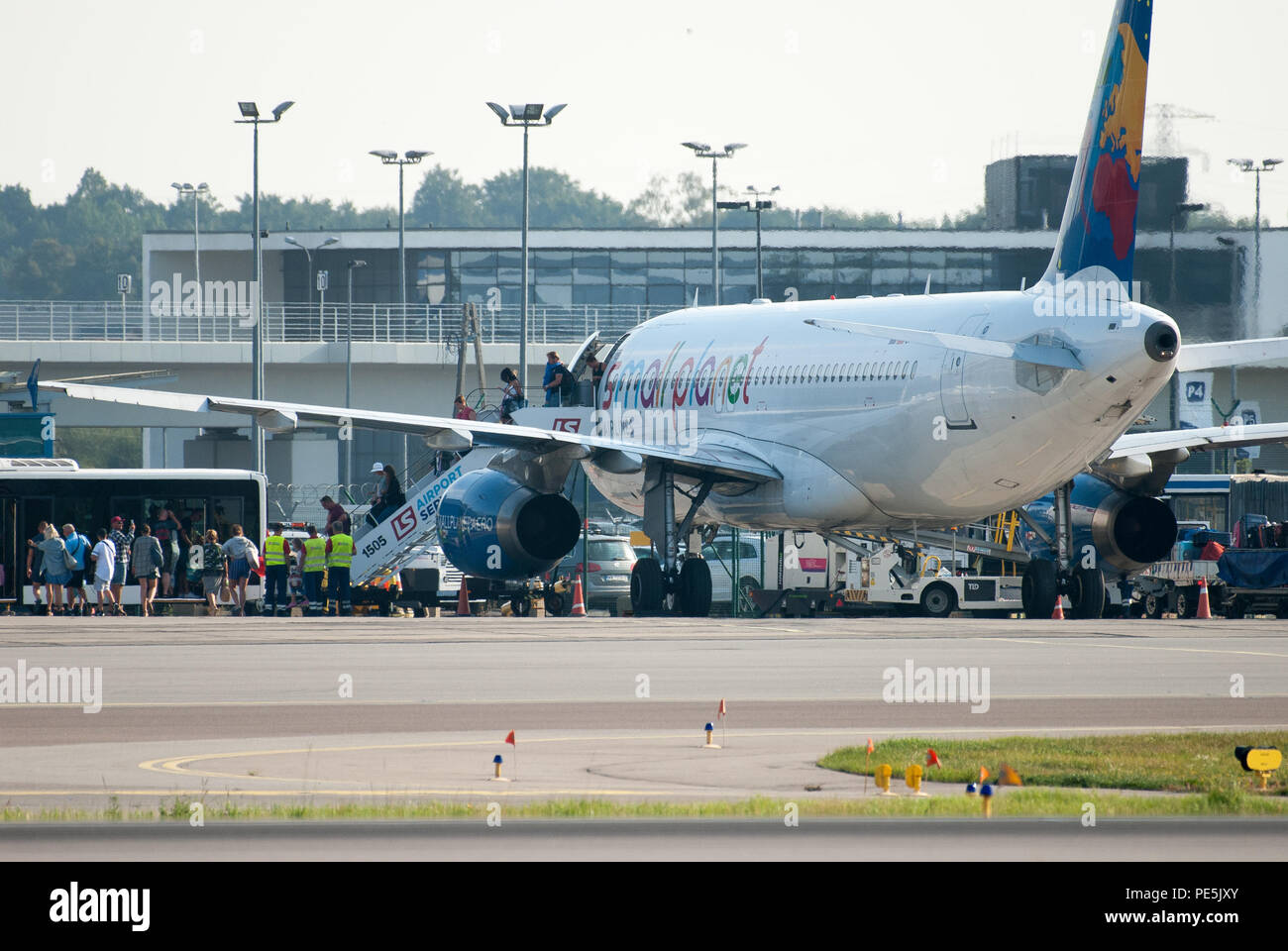 Airbus A320 200 of Lithuanian leisure airline Small Planet Airlines in Gdansk Lech Walesa Airport, Poland. August 9th 2018 © Wojciech Strozyk / Alamy  - Stock Image