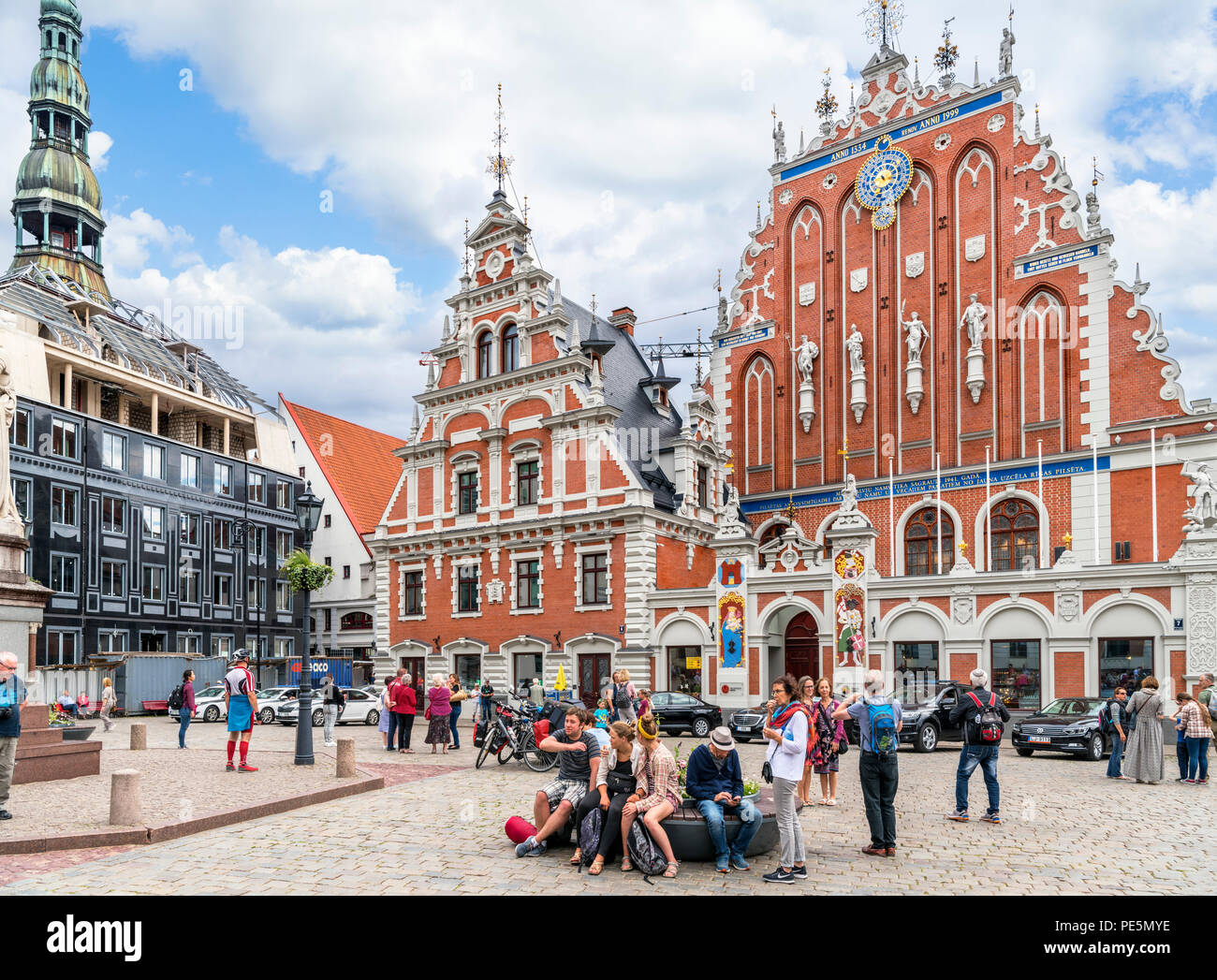 House of the Blackheads (Melngalvju Nams), historic building built in 1334 and reconstructed in 1999, Rātslaukums (Town Hall Square), Old Riga, Latvia - Stock Image
