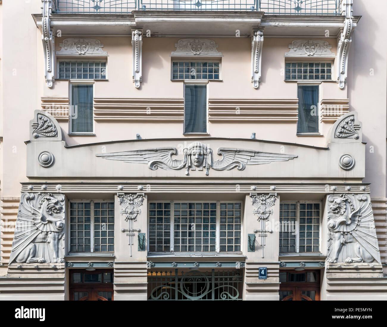 Art Nouveau building on Alberta Iela in Centrs (Central Riga), Riga, Latvia - Stock Image