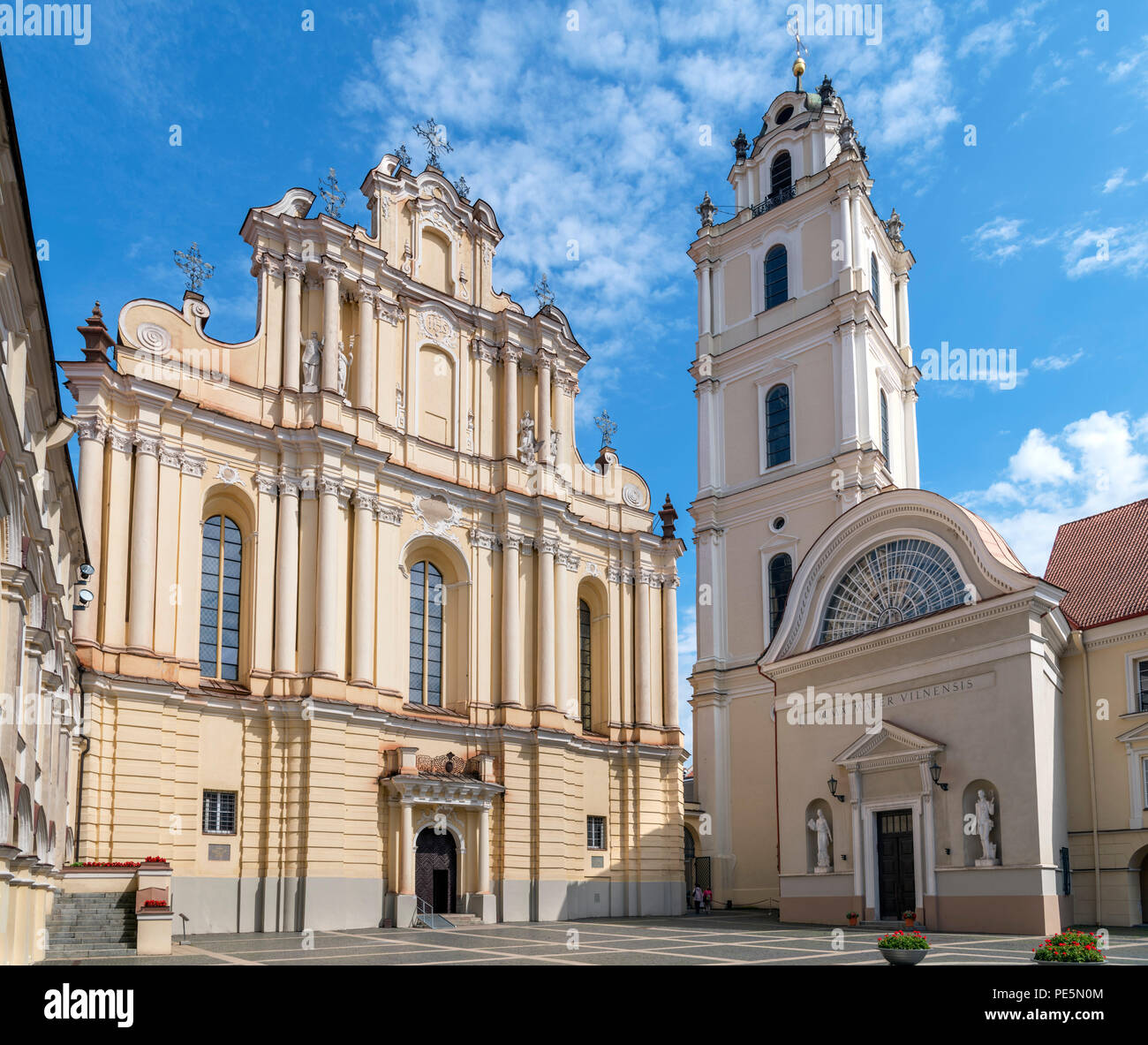 St Johns Church and its free standing bell tower, Grand Courtyard, Vilnius University, Vilnius, Lithuania - Stock Image