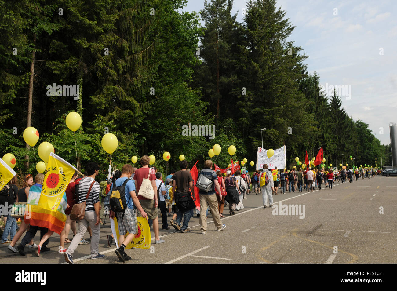 Thousands of anti atomic protesters come together in Döttingen, demanding for nuclear free energy future. - Stock Image