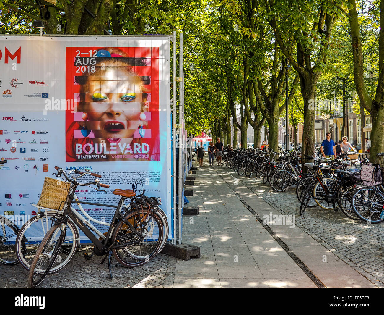 August 2018 - 's-Hertogenbosch, Netherlands: Large advertisement for the yearly Boulevard street theater festival - Stock Image