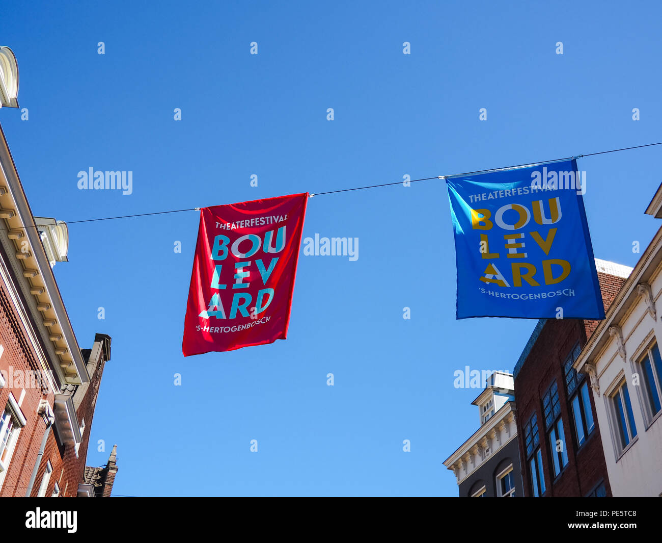 August 2018 - 's-Hertogenbosch, Netherlands: Flags promoting the yearly Boulevard street theater festival in the city center - Stock Image