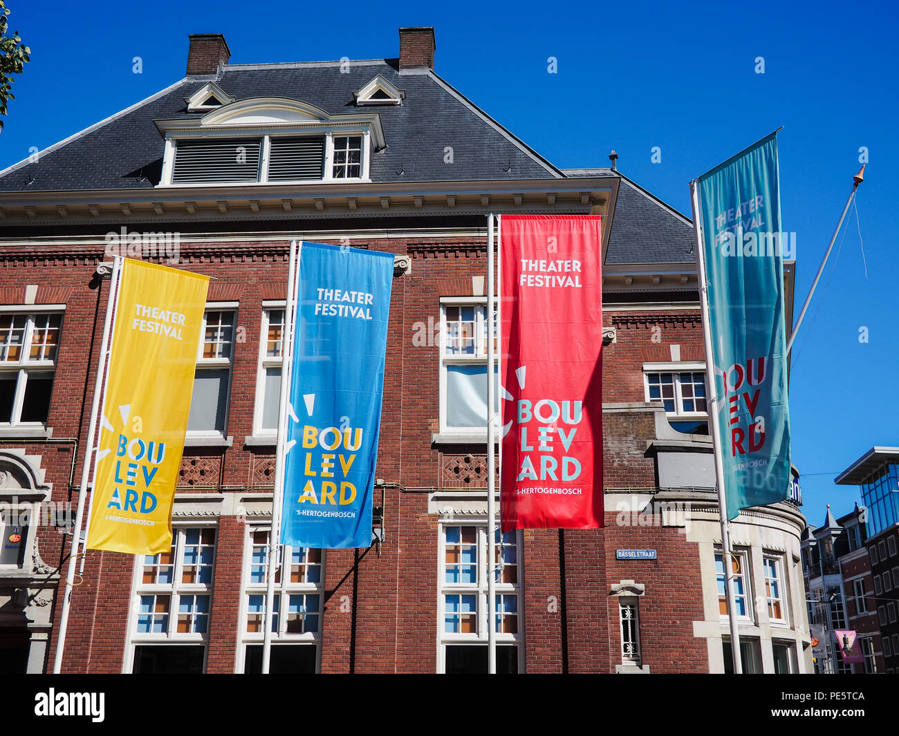 August 2018 - 's-Hertogenbosch, Netherlands: Large banners advertising for the yearly street theater festival Boulevard - Stock Image
