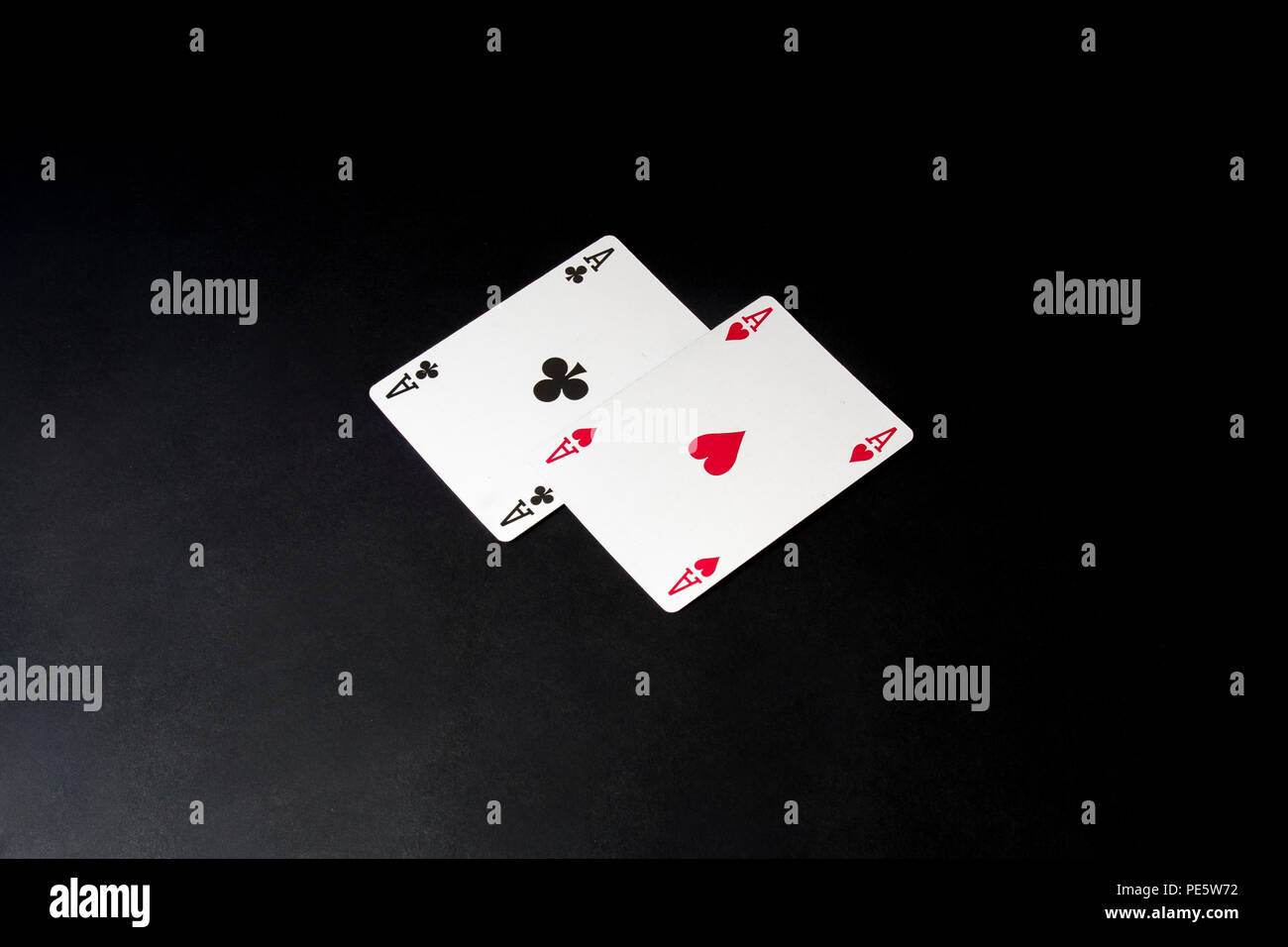 Poker cards over black. Pair of aces. Blackjack. - Stock Image