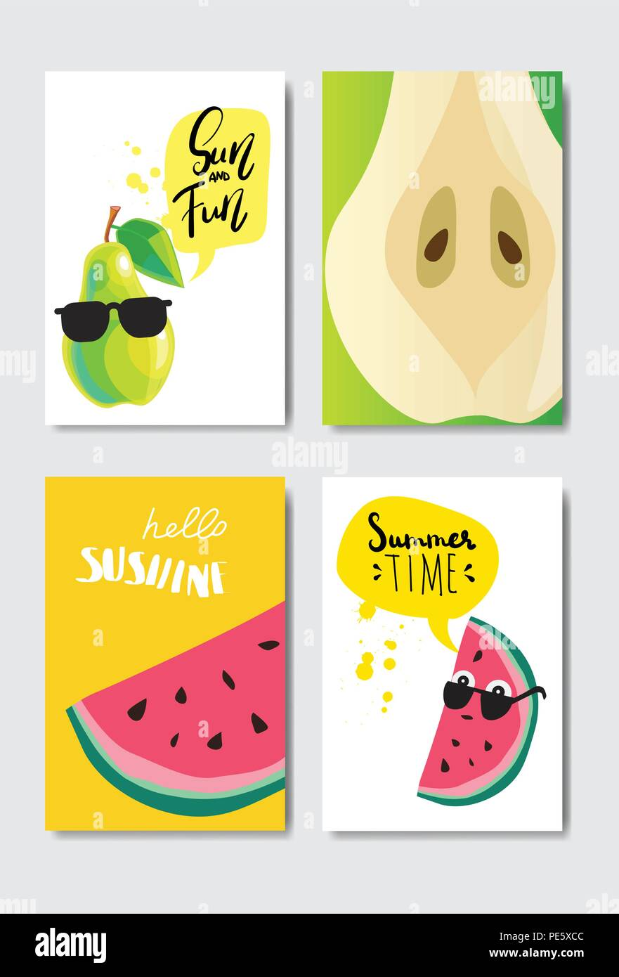 set pear watermelon badge isolated typographic design label season