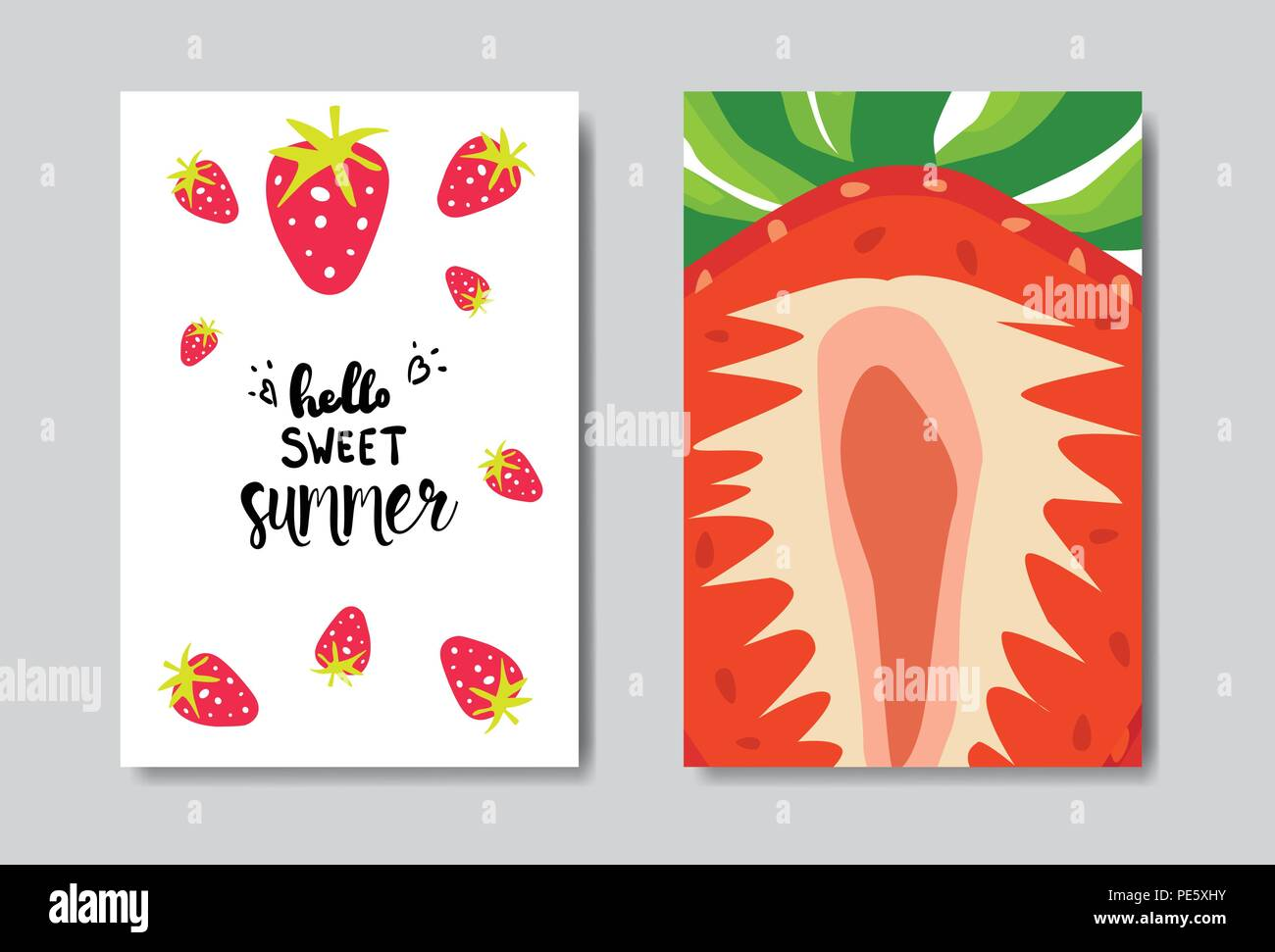 set sweet summer strawberry badge isolated typographic design label